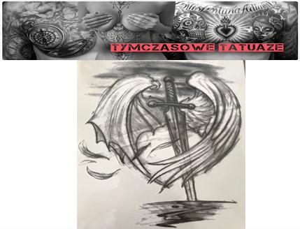 Tatuaż Zmywalny Ręka Noga Sztylet Miecz Skrzydła