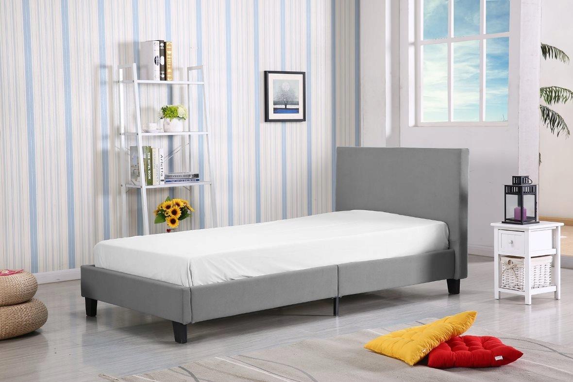 łóżko 90x200 Szare Tanie łóżka Hotelowe Tkanina 6936909423