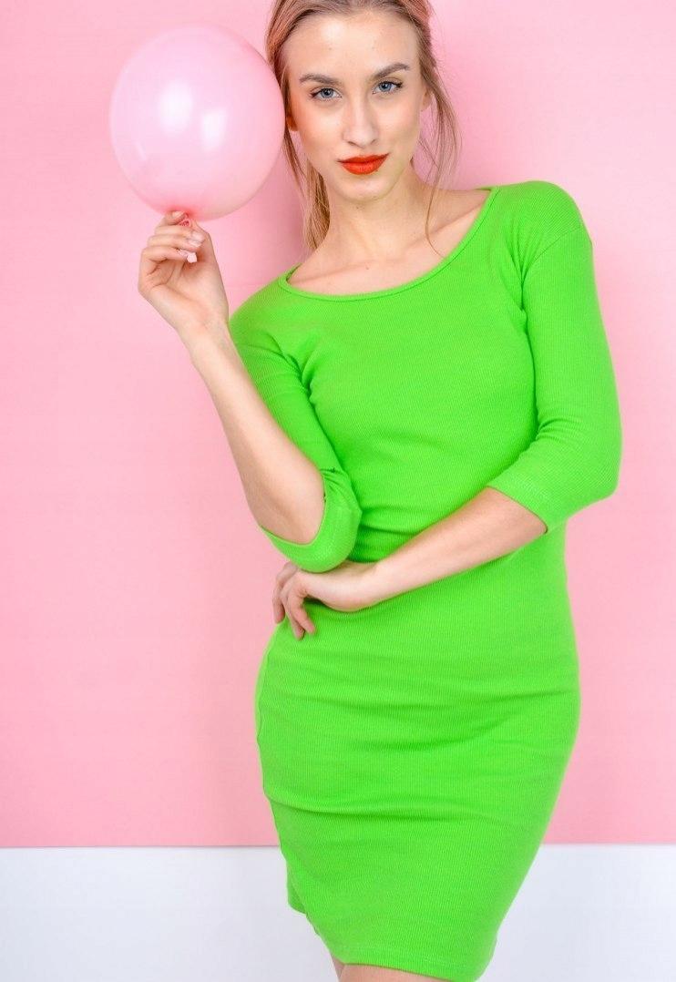 772ebc636f Sukienka tuba prążkowana wyraziste kolory Neonowy - 7684122130 ...