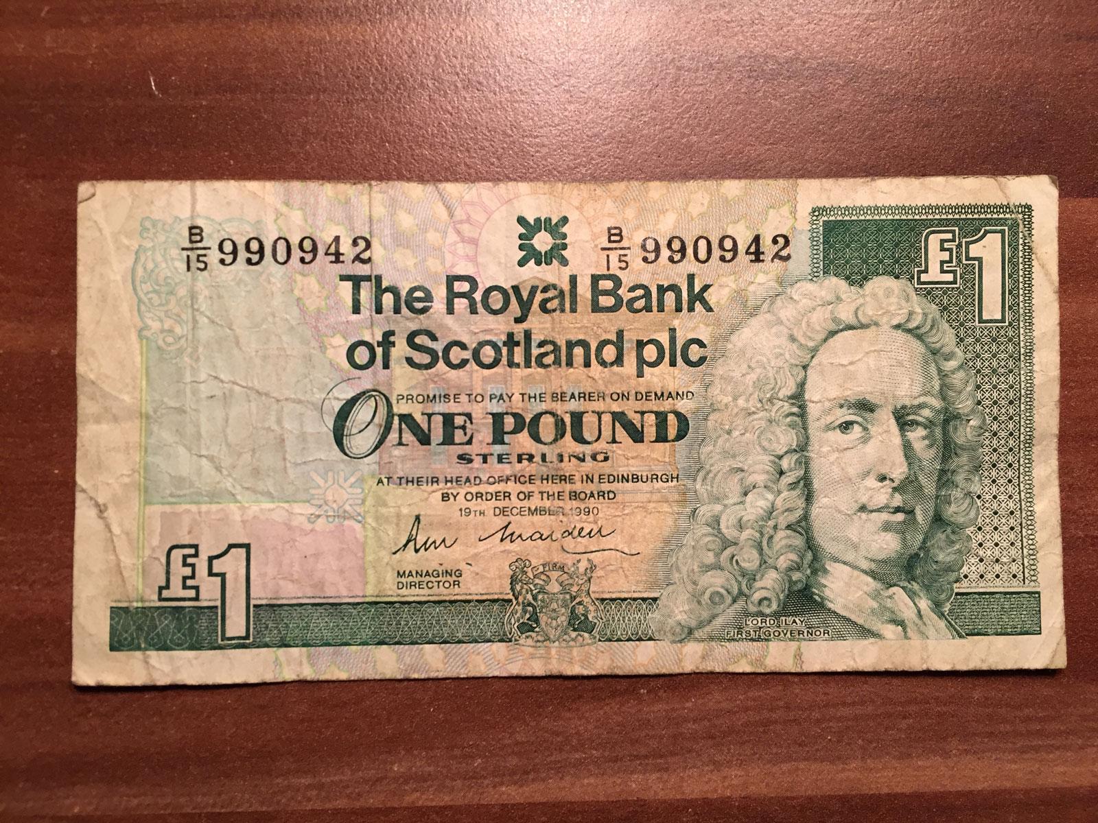 SZKOCJA - 1 funt 1990-  zamek Edinburgh
