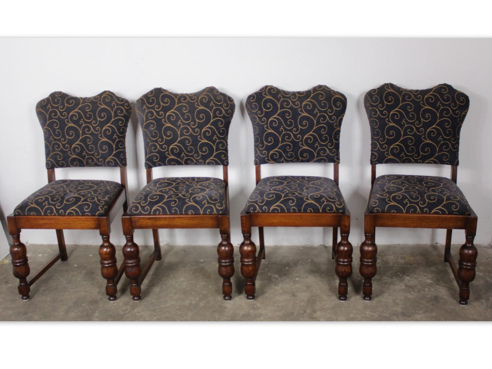 1165 Stylowy Komplet Krzeseł 4 Sztuki Toczone Nogi