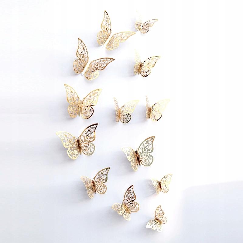 Ażurowe 12sz Motyle Dekoracyjne Sztuczne Na ścianę