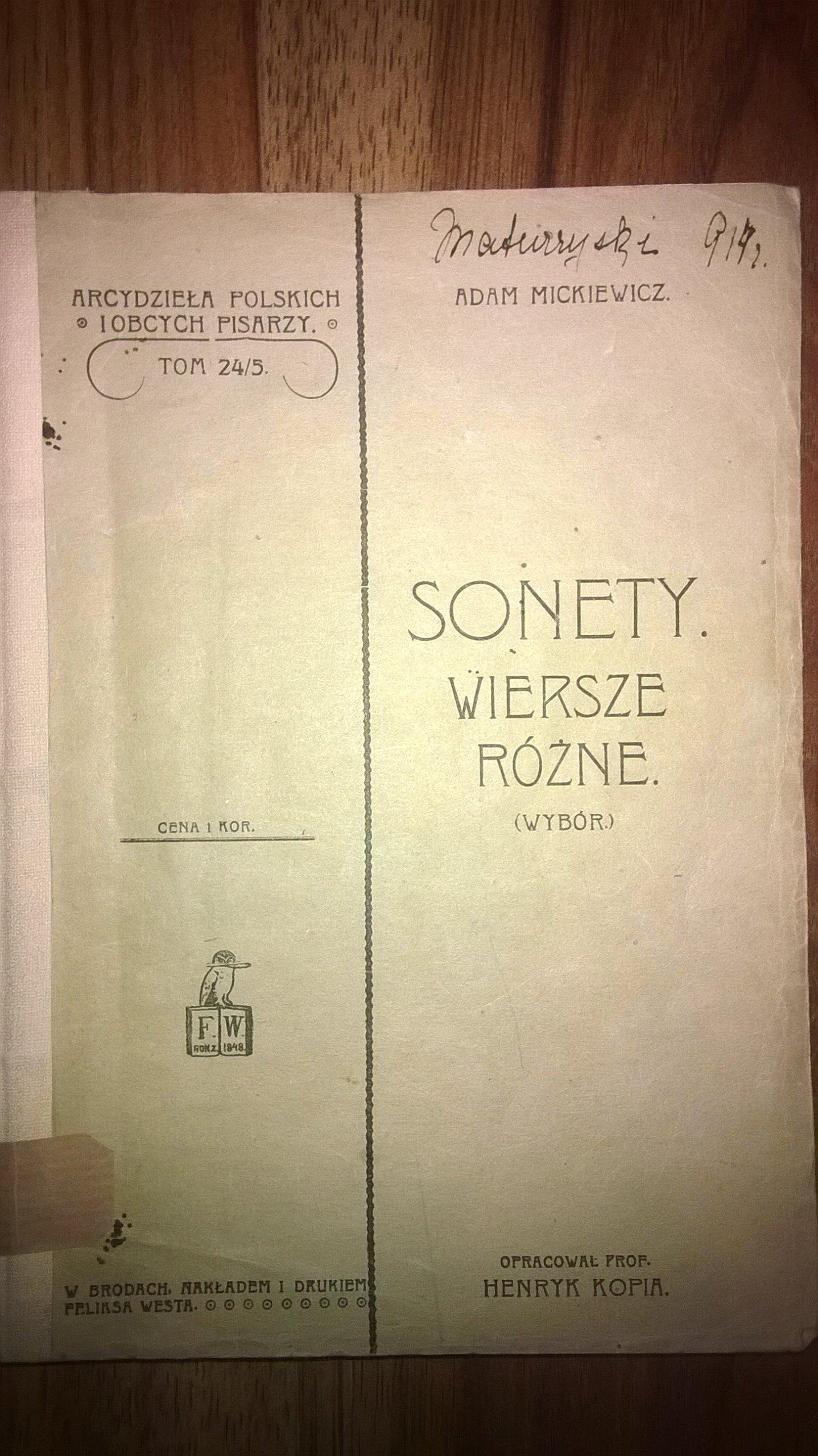 Adam Mickiewicz Sonety Wiersze Różne 1904 R