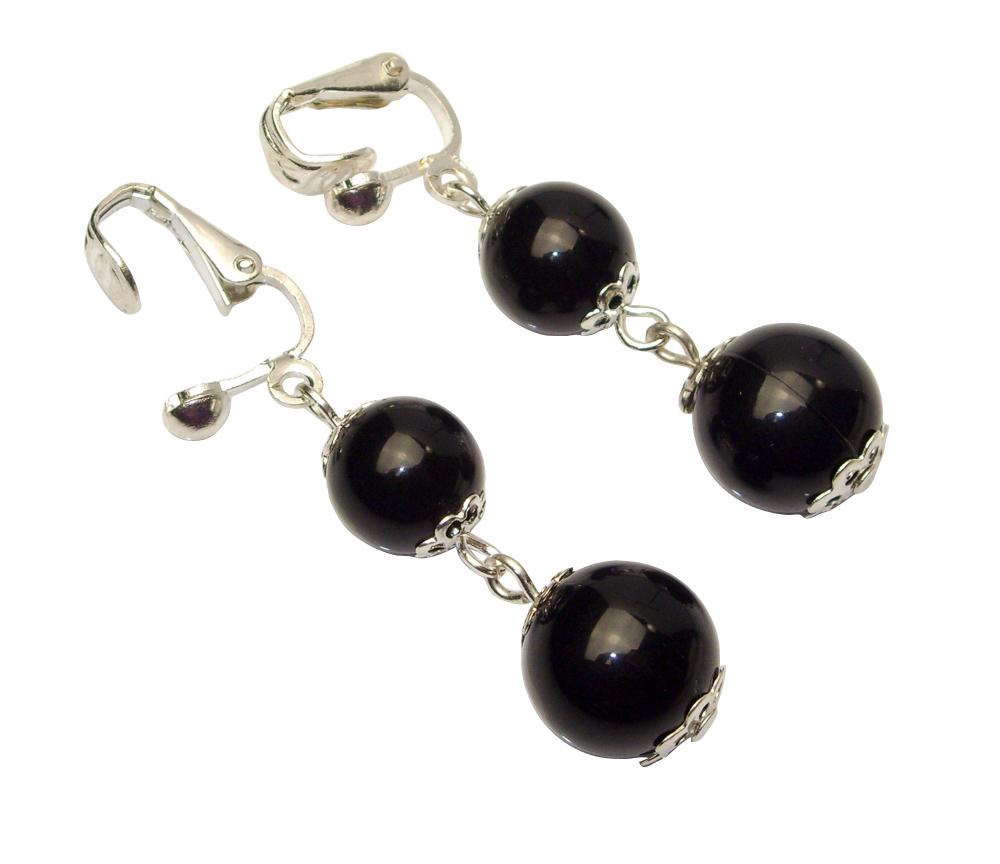 Klipsy perełki wiszące kulki czarne