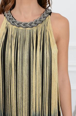 b149ae2da7 Sukienka z długimi złoto-srebrnymi frędzlami - 7141737257 ...