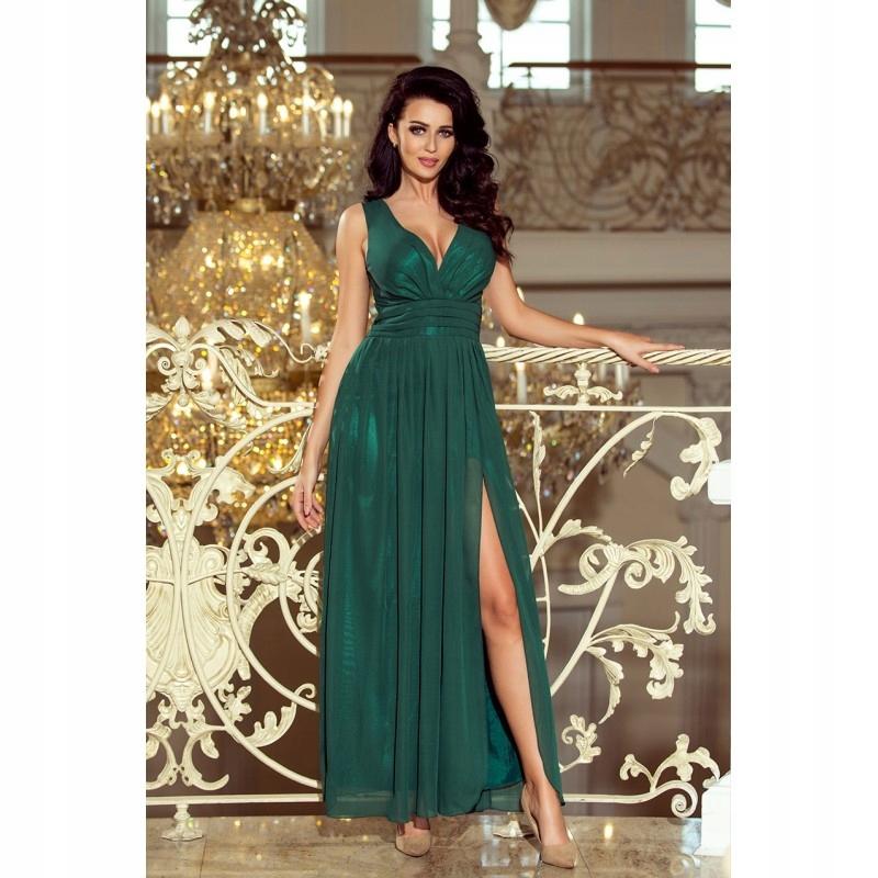 73e6a42e9a Długa zjawiskowa sukienka z głębokim dekoltem i ro - 7728287469 ...