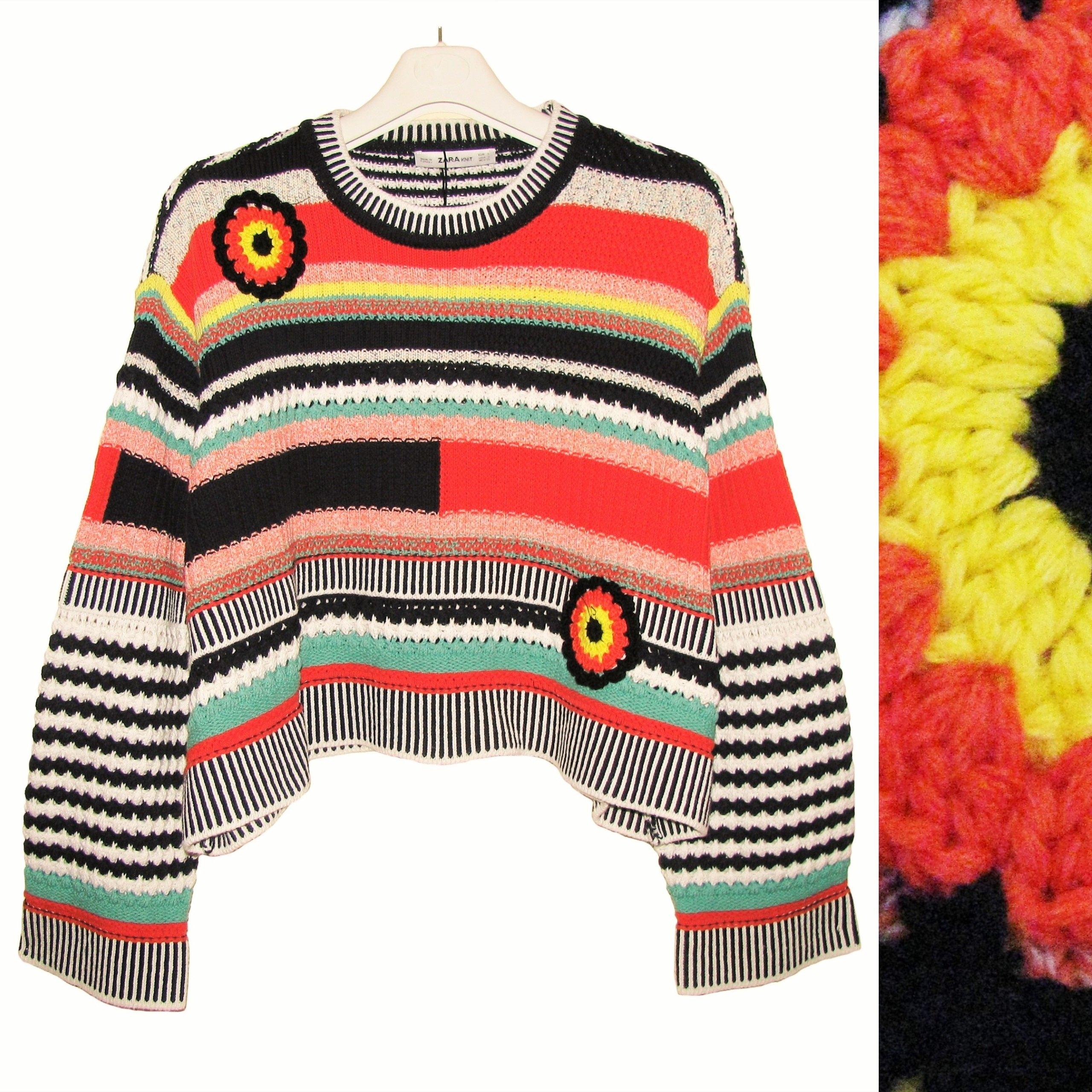 b92943ee85c4e8 ZARA Piękny Kolorowy Sweter Szydełkowe Aplikacje S - 7256986070 ...