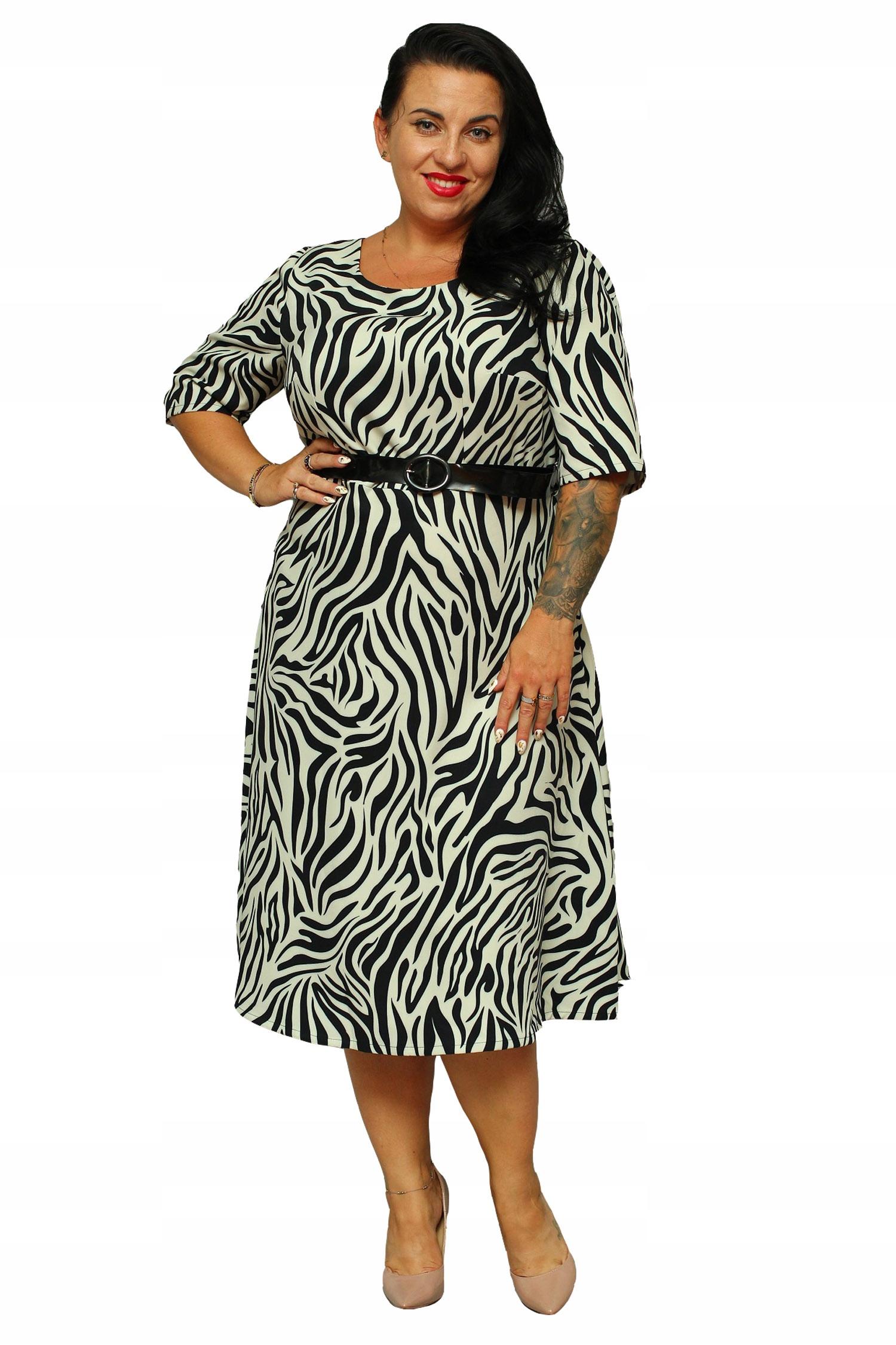 e57680f2 WYPRZEDAŻ Sukienka ADEL z paskiem zebra 48