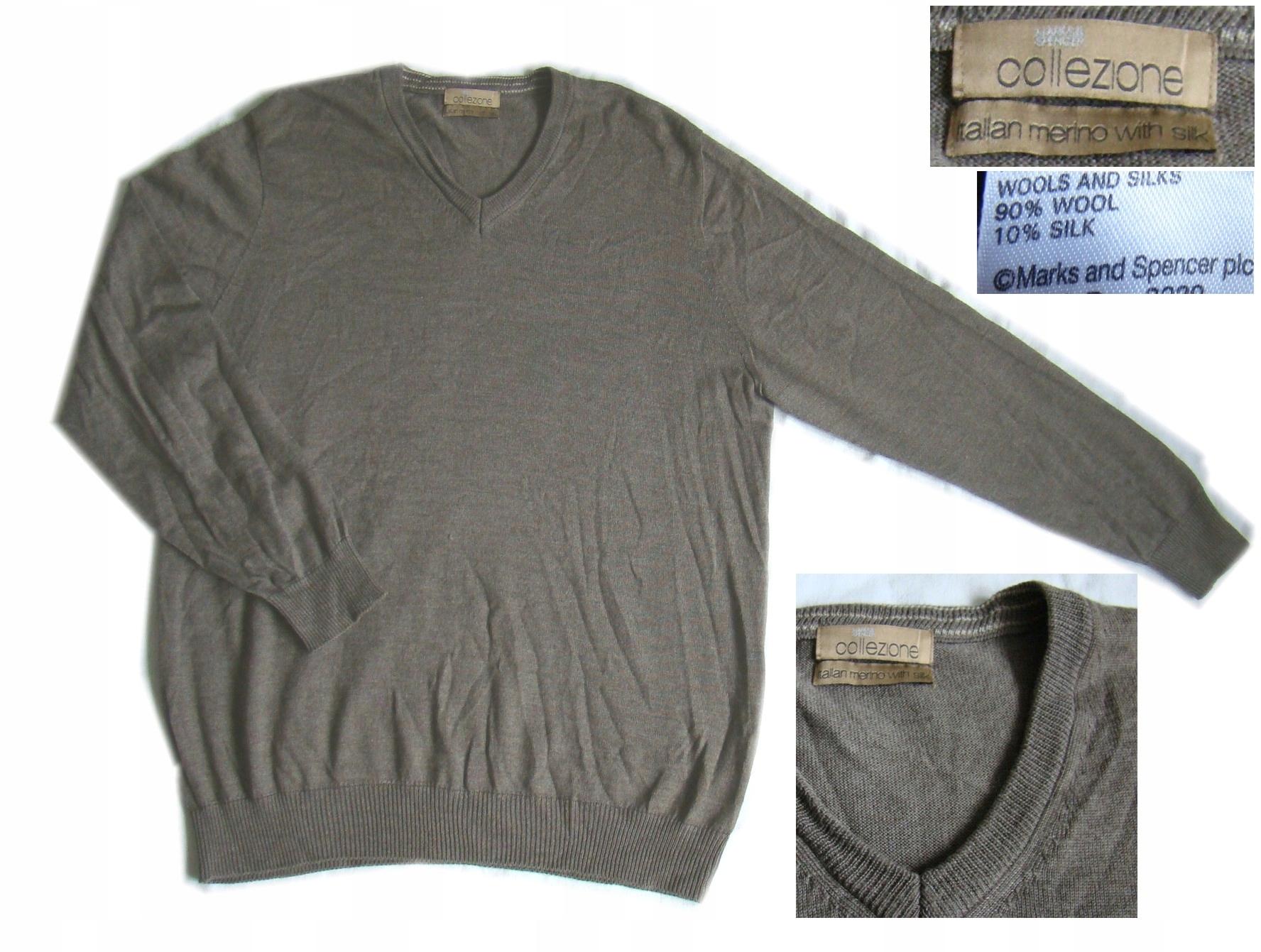 fa4bbf523 Sweter Marks Spencer wełna merino i jedwab rozm XL - 7502420121 ...