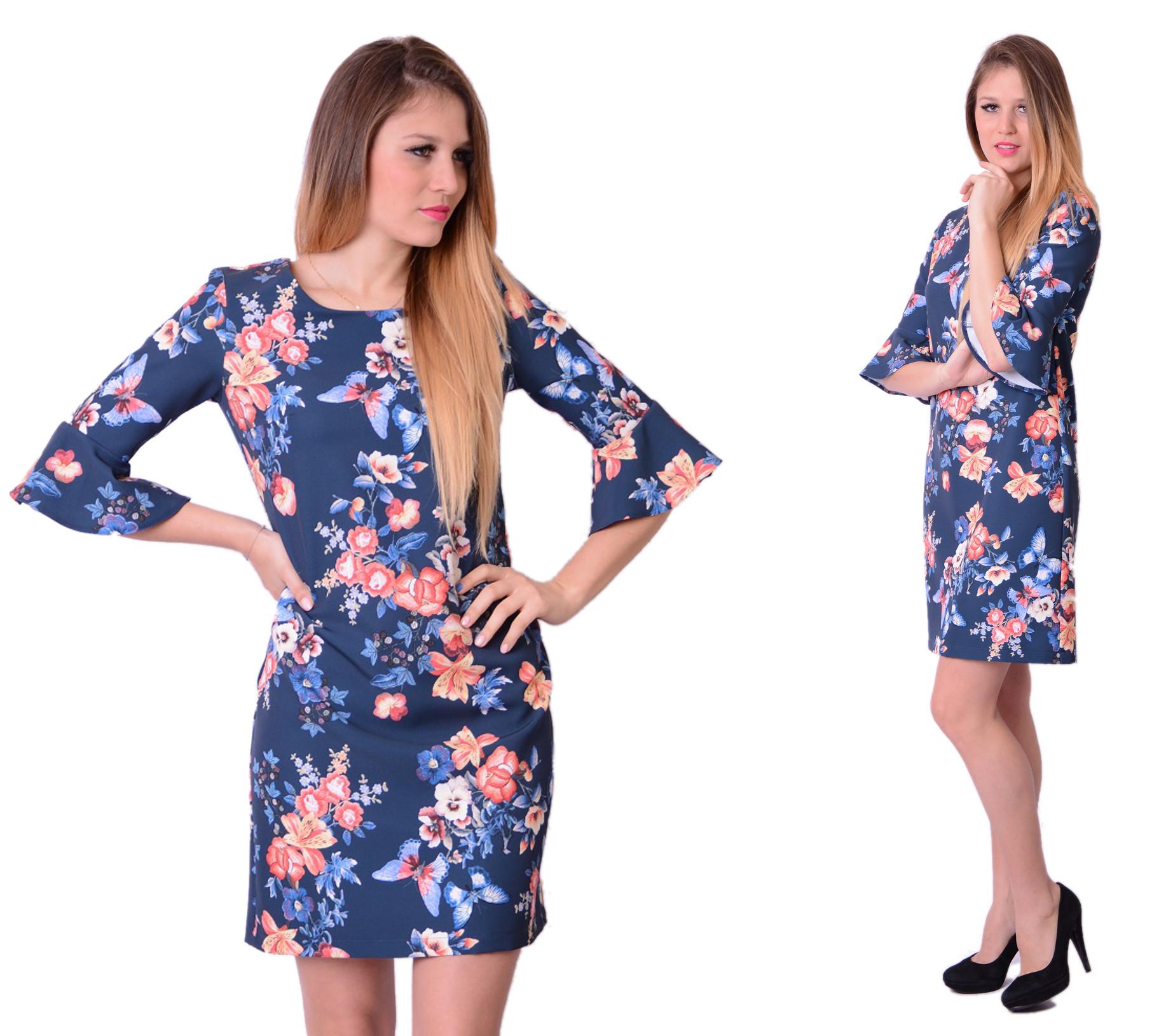 37ab643301 Sukienka Trapez Falbana Drukowane Kwiaty rozm. 44 - 7277299470 ...