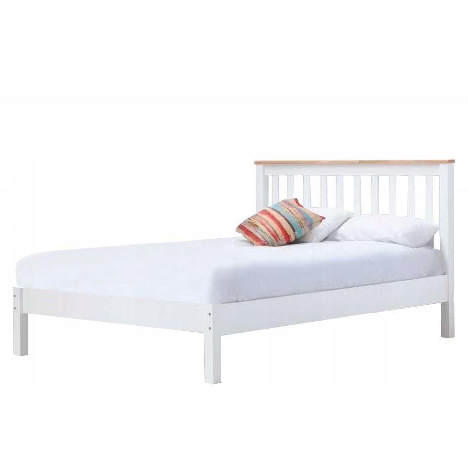 łóżko Drewniane 140x200 Cm Białe Stelaż Zagłówek