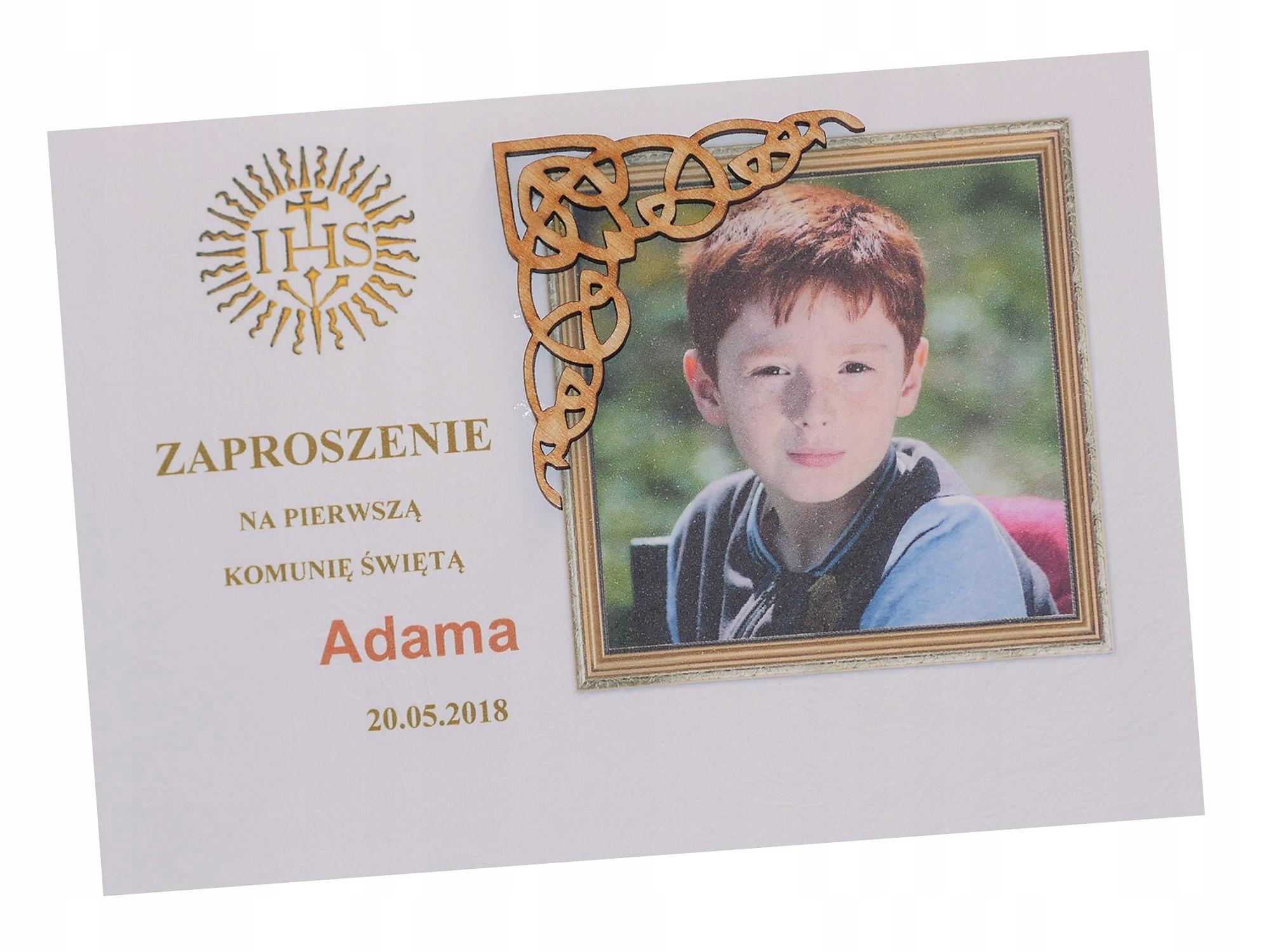 Zaproszenia Komunijne Ze Zdjęciem Drewno Wzór 5 7316704111