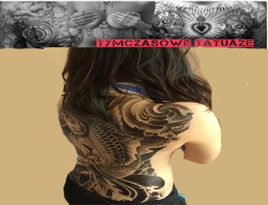 Tatuaż Na Całe Plecy 48cm X 34cm Duży Ryba Koi 7323296207