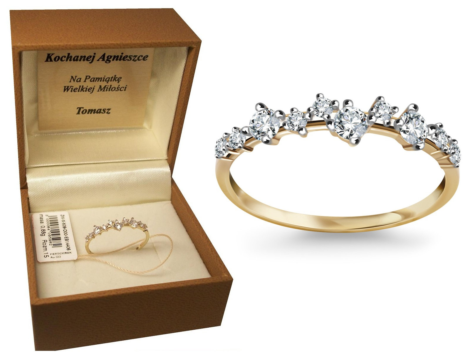 Złoty Pierścionek Zaręczynowy Verona Yes Prezent 7062352926