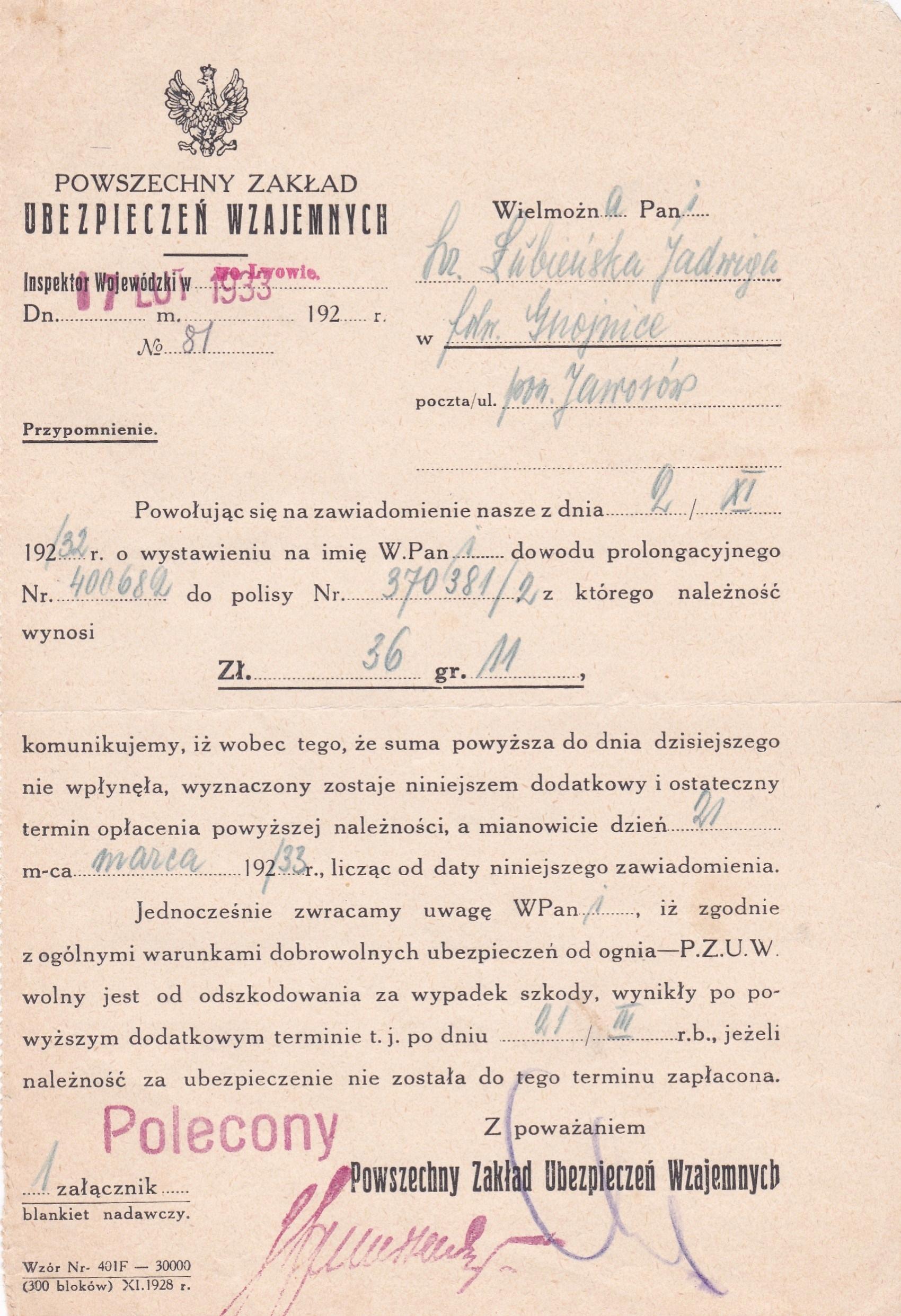 Dokument PZU Wzaj.-1933 r.