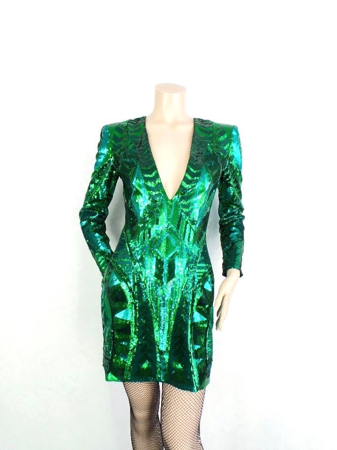 7dccd7a77f BALMAIN H M sukienka cekiny zielona rozm. 36 - 7120145265 ...