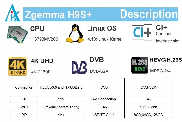 ZGEMMA H9S 4K ENIGMA2 CCcam SHARING OSCAM USB 3.0