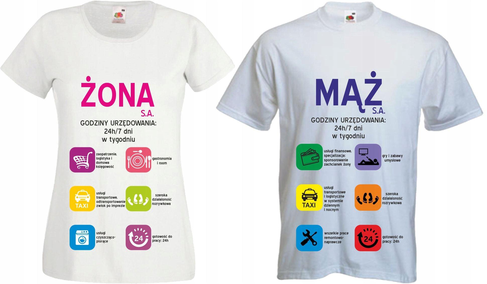 212826d88 Koszulki dla PAR z nadrukiem MĄŻ ŻONA SA imiona - 6833129055 ...