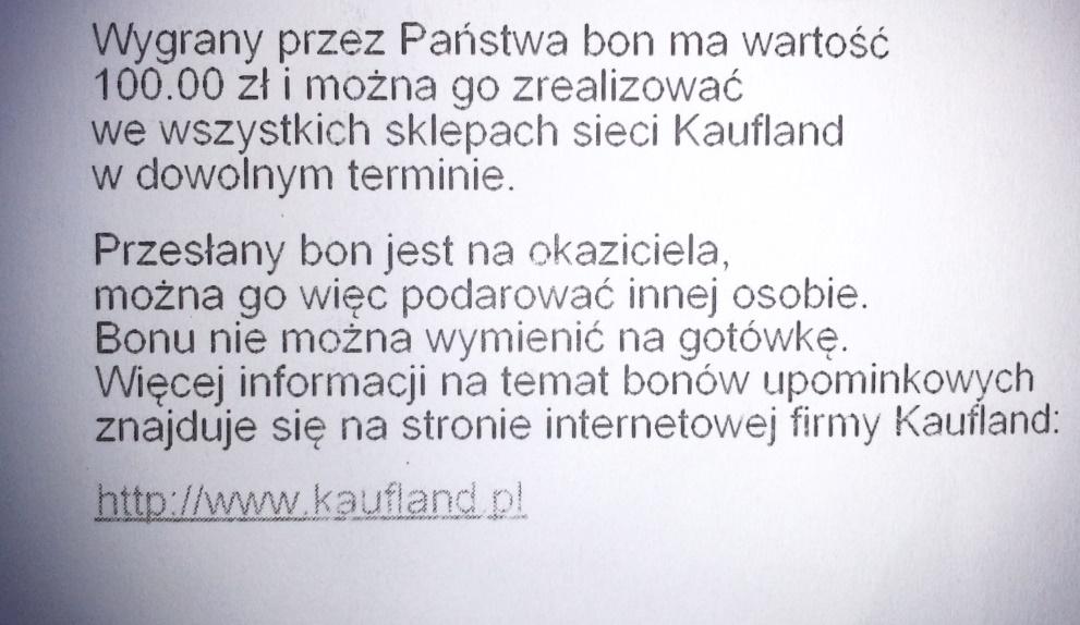 Bon Upominkowy 100 Zl Kaufland Do 14 01 2019r 7308294160