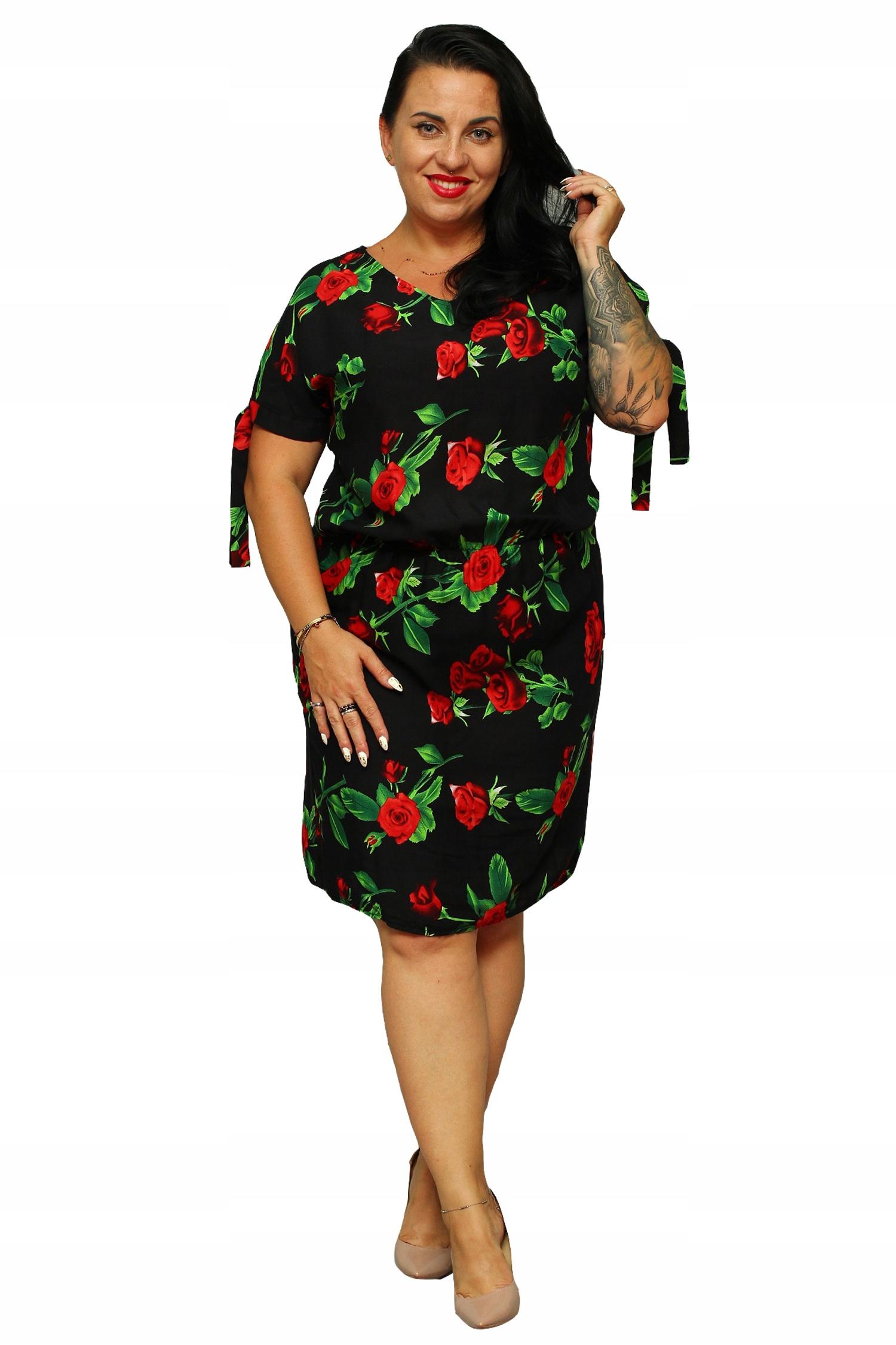 1f97267d6f Sukienka JUSTYNA gumka czarna róże 46 - 7535450987 - oficjalne ...