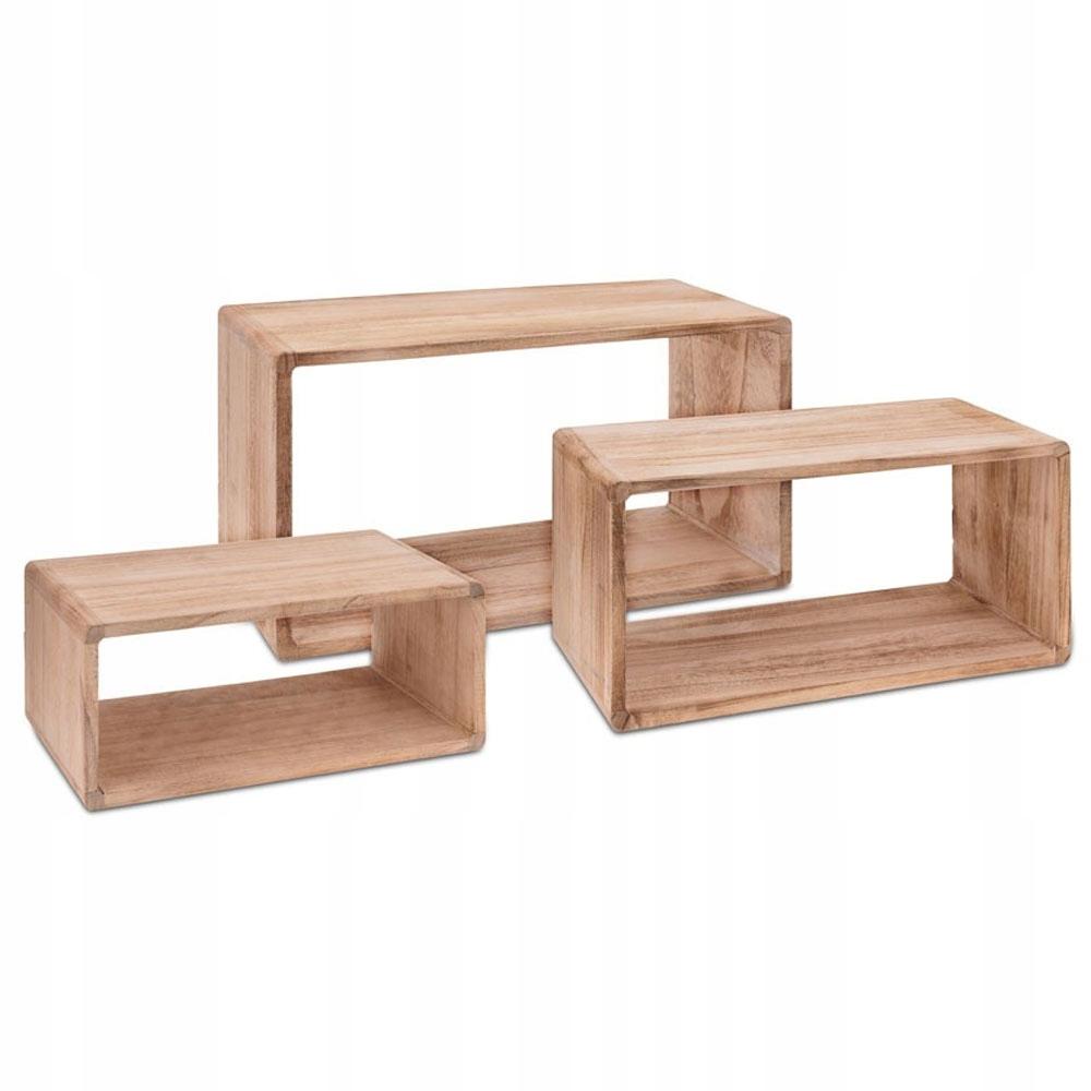 Półki Drewniane Prostokątne Brązowe Komplet 3 Szt
