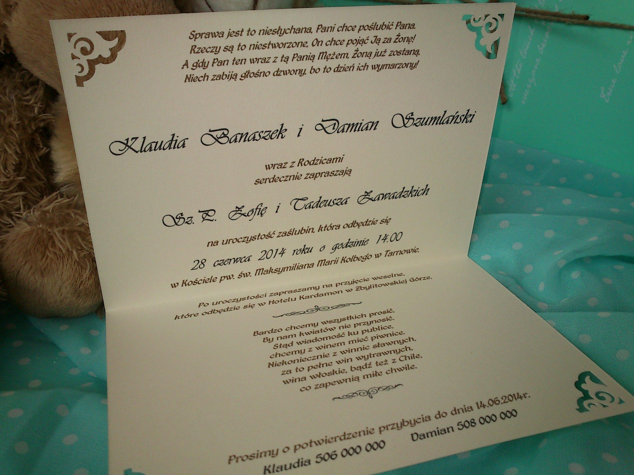 Zaproszenia ślubne Ażurowe Rogi Koperty Detaliki 7221466139