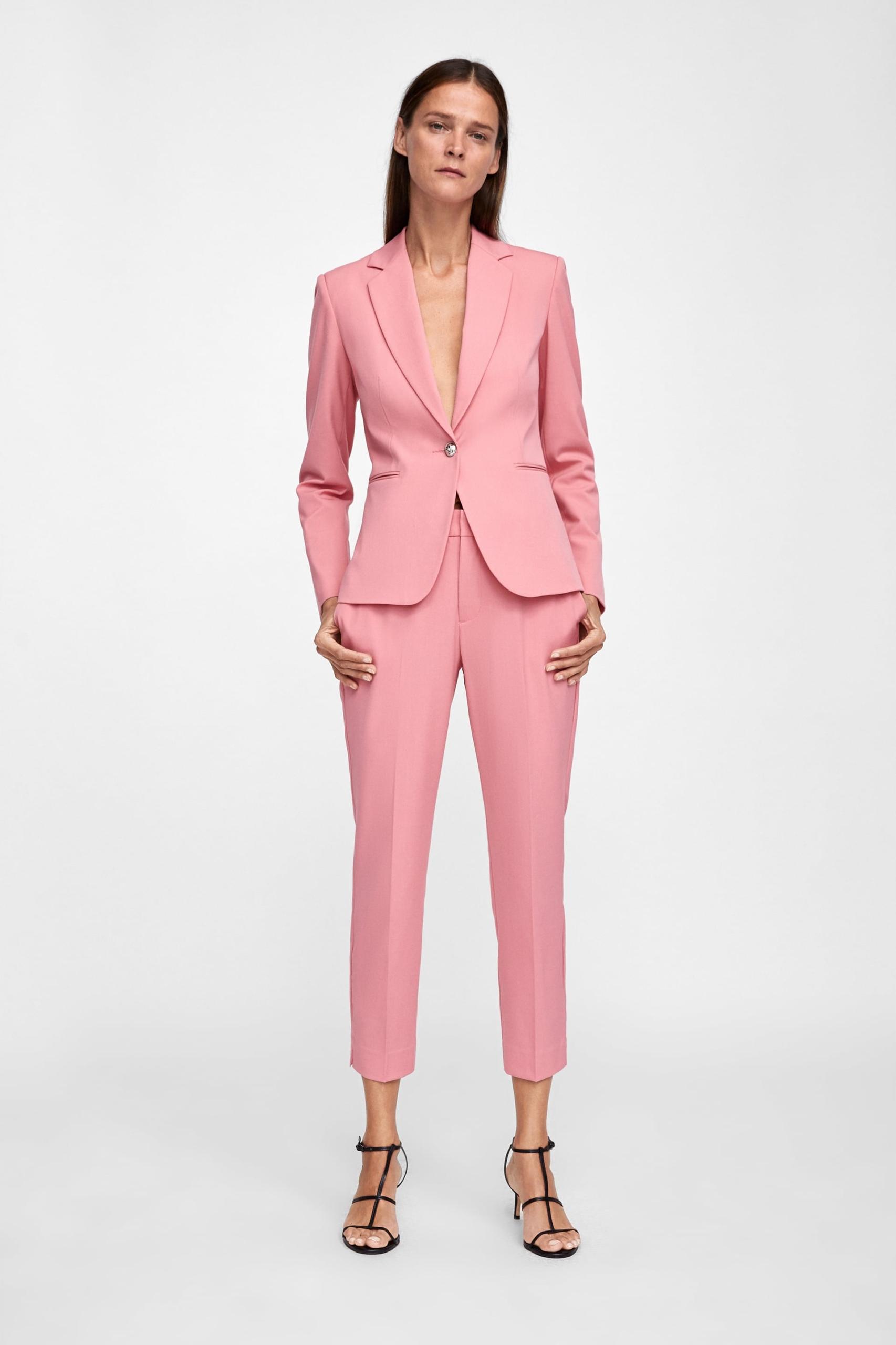 095bcec2c7 Luksusowy Komplet Pink Marynarka Spodnie - ZARA S - 7603788059 ...