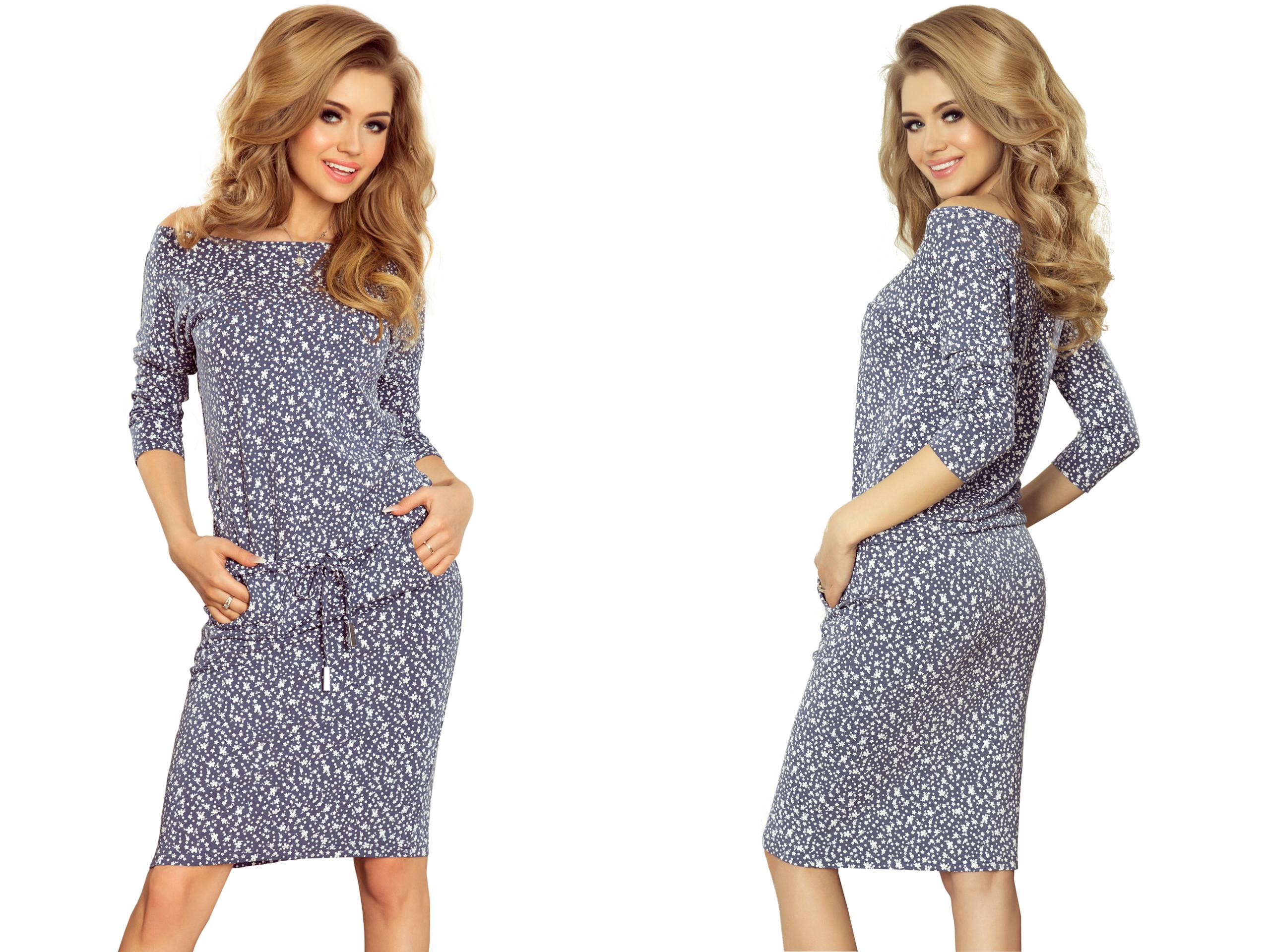84437f0214 Modna Dopasowana Sukienka Z WIĄZANIEM 13-83 r.M 38 - 7301687742 ...