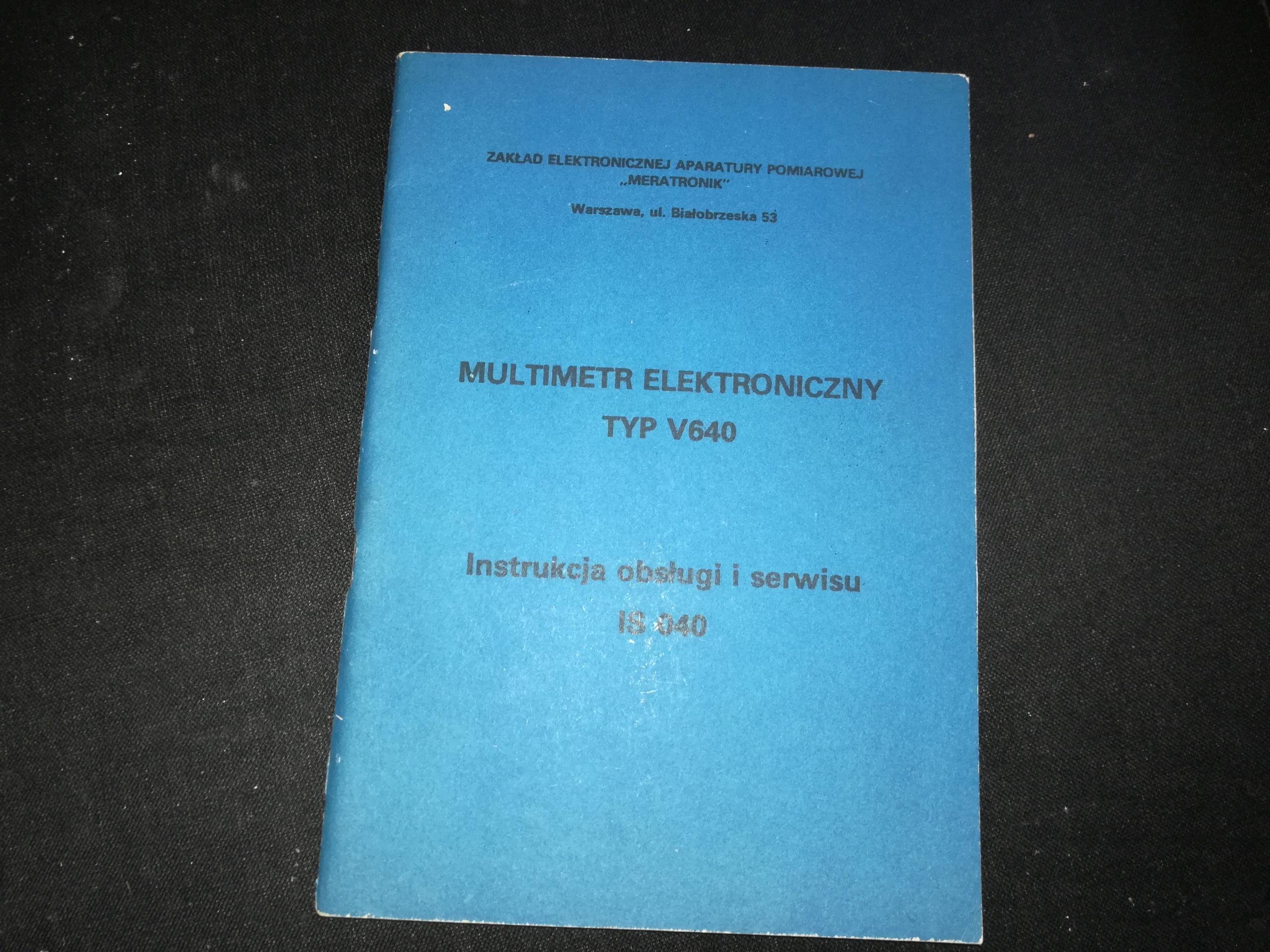 Multimetr V-640 MERATRONIK instrukcja obsługi