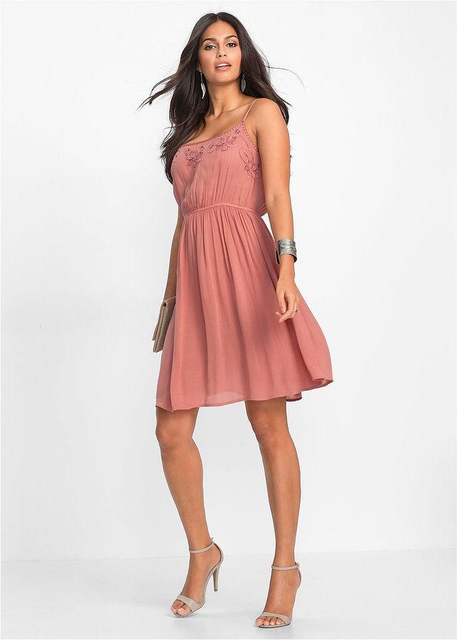 447ded72ac Sukienka z haftem różowy 38 M 958882 bonprix - 7487607462 ...