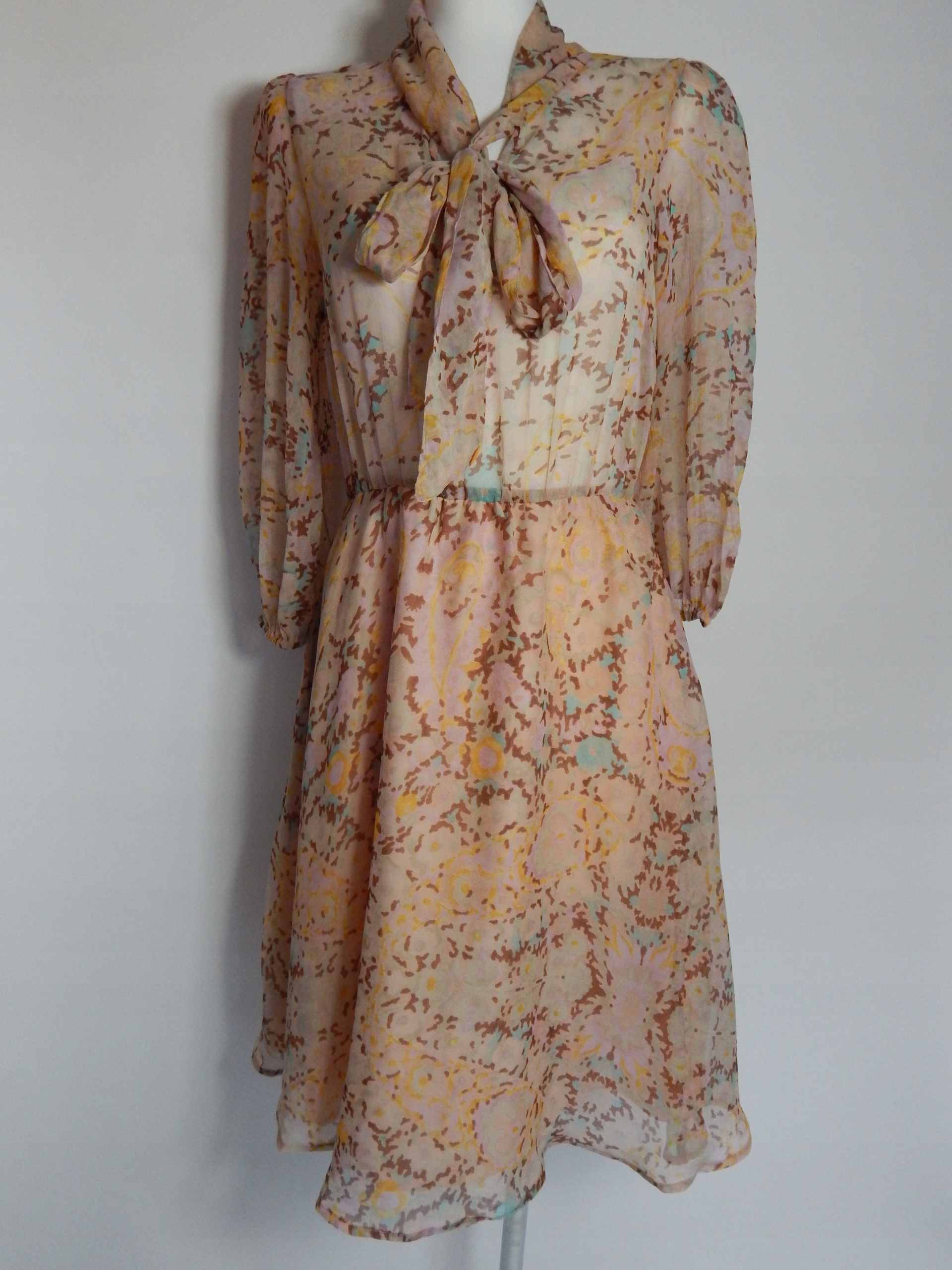 Oryginał TOPSHOP sukienka szyfon kokarda pod szyją 36/38 - 7444182016 DF57