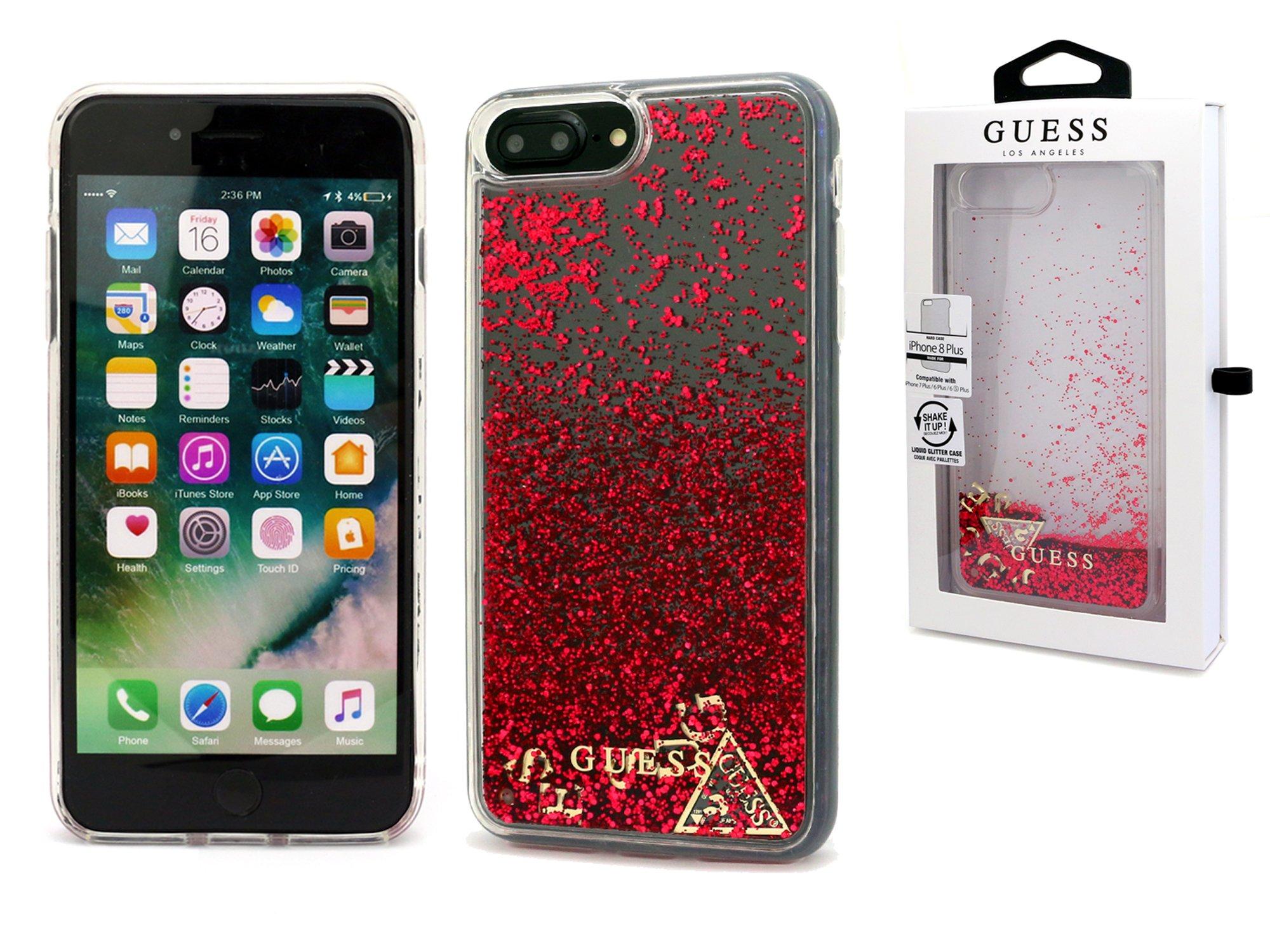buy online a1235 c301f iPhone 7 Plus   Etui Guess Liquid Glitter Case Red - 7342229144 ...