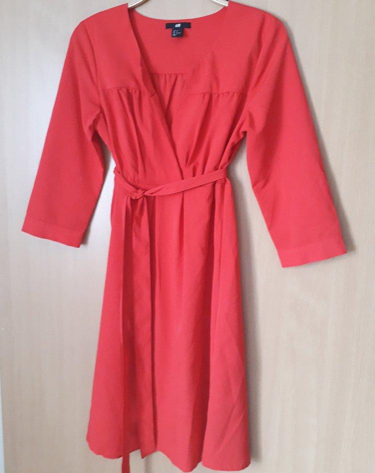 5e941e5b22 Sukienka H M basic czerwona kopertowa r 36 S - 7314906573 ...
