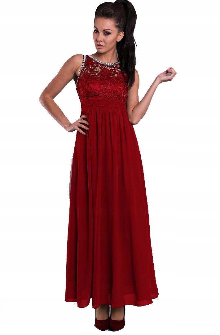 33a24c36f9 Sukienka Czerwona Dekolt Wykończony Koronką - 7348519908 - oficjalne ...