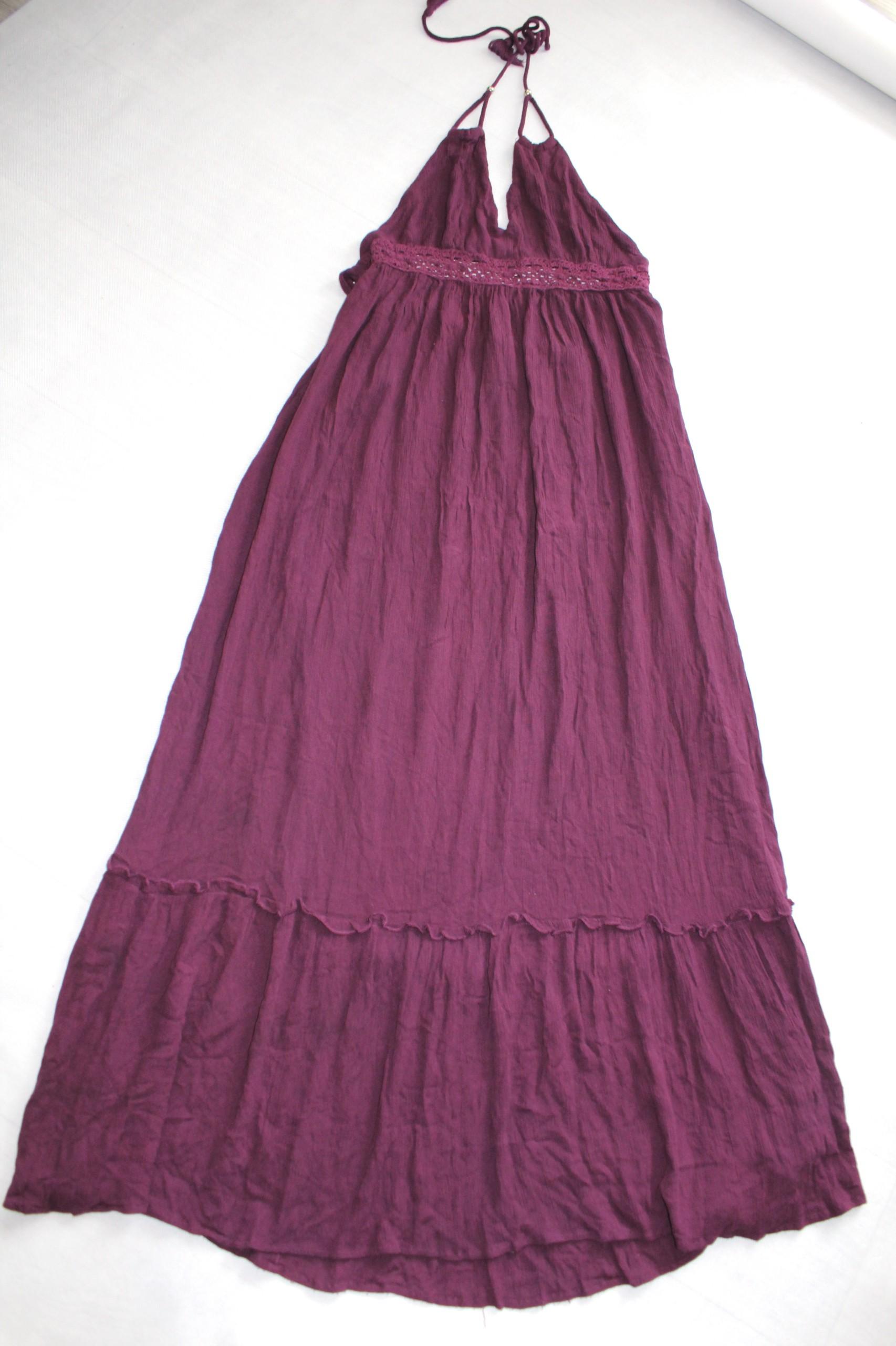 11380816dc6e9 piękna suknia fiolet etno boho długa L koronka hip - 7481344043 ...