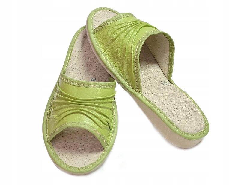 0b9c8e8dc21257 Pantofle Skórzane Damskie Kapcie Marszczone *38 PL - 7119216166 ...