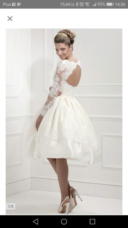 419069a314 sukienka ślubna krótka retro 38
