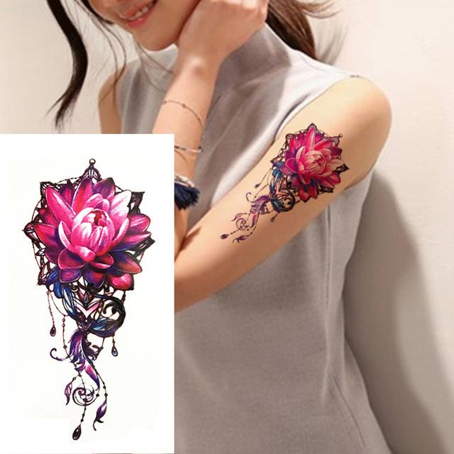 Tatuaż Zmywalny Kolorowy Kwiat Duży 7338949183 Oficjalne