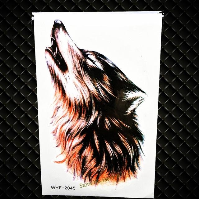 Tatuaż Zmywalny Wyjący Wilk Duży 7338939056 Oficjalne