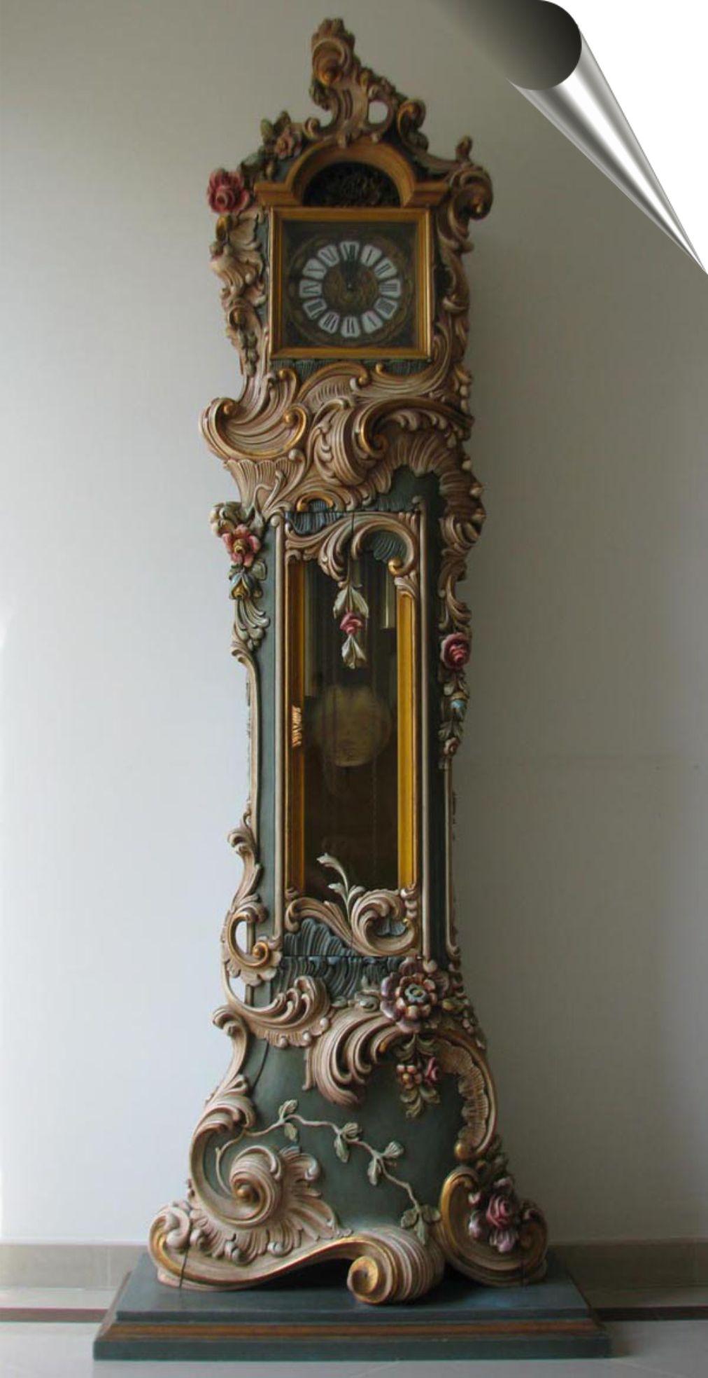 Pałacowy Zegar Stojący Podłogowy Drewno Rokoko