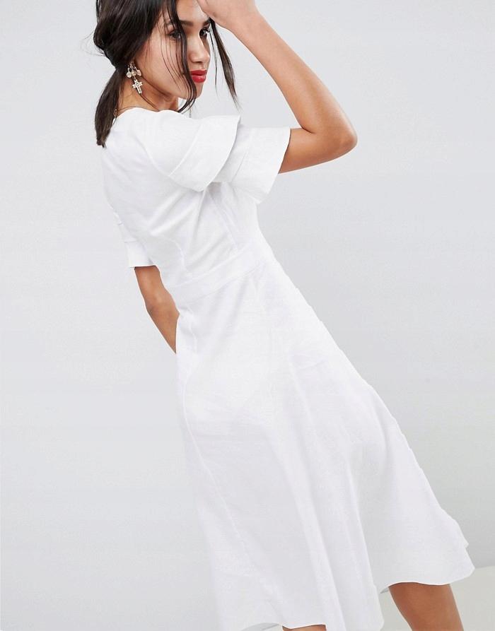 bb9927336a ASO Śmietankowa lniana sukienka retro (32) - 7745100775 - oficjalne ...