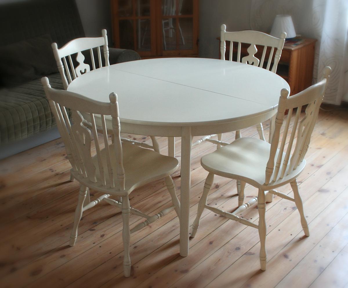 Stół Okrągły Biały Rozkładany Z Krzesłami