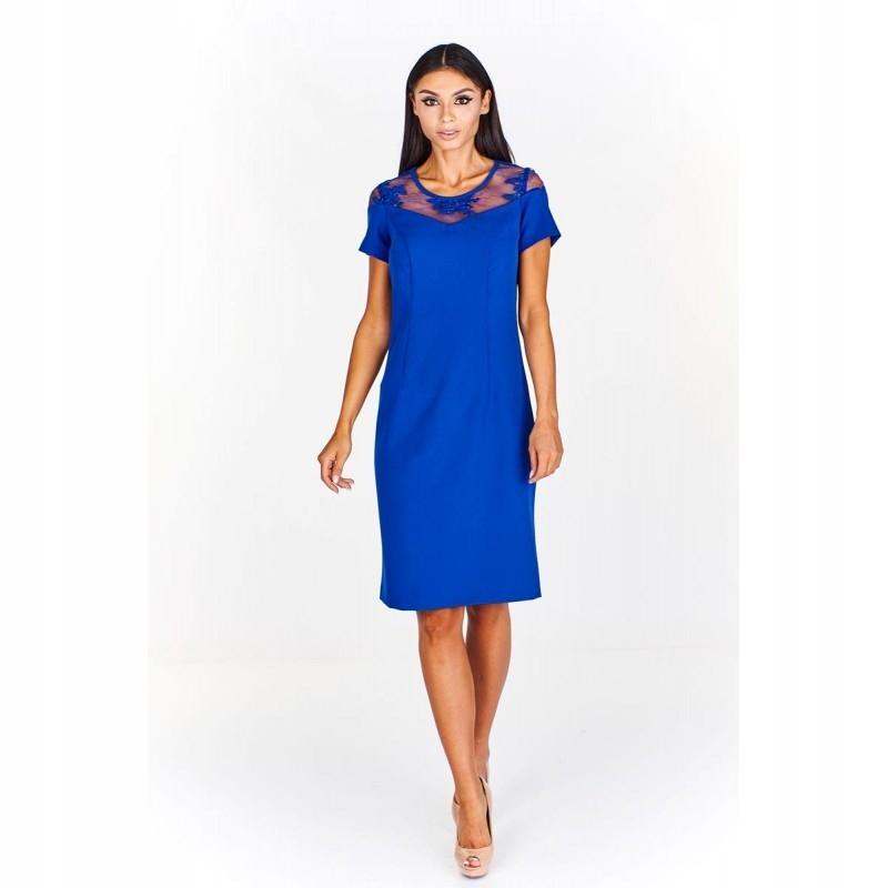 578a1284 Sukienka z koronkową wstawką przy dekolcie 62 Nieb - 7599346880 ...