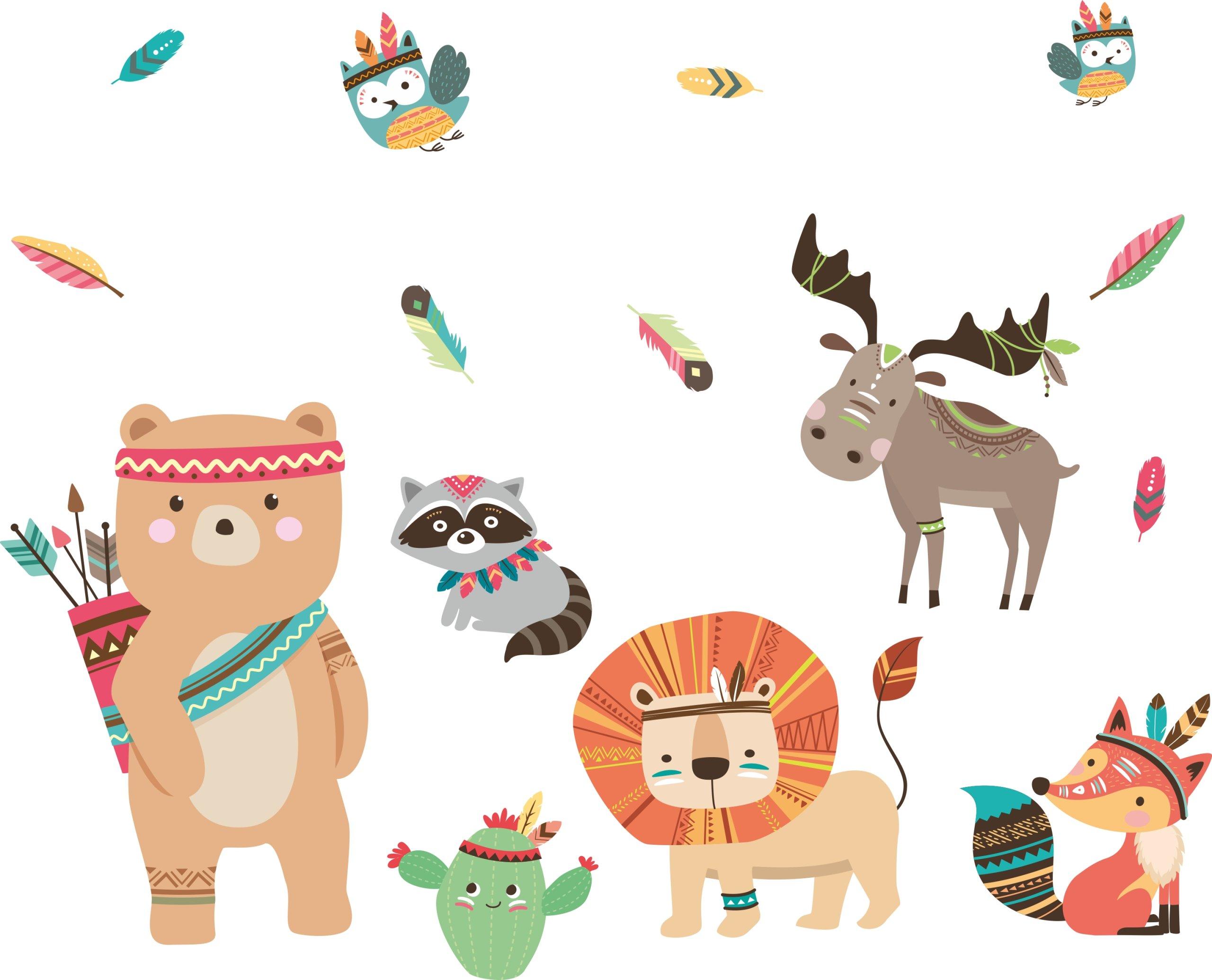 Naklejki ścienne Dla Dzieci Zwierzęta Indianie Xxl 7407999684