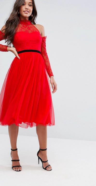 ASOS PREMIUM Czerwona sukienka tiulowa *42 7438344706