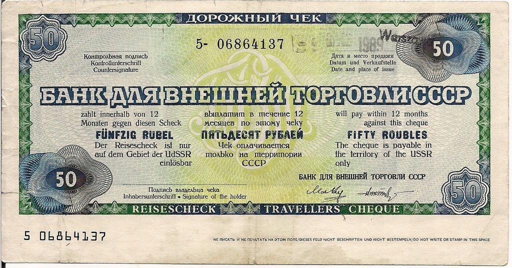 Czek podróżny ZSRR na 50 rubli Warszawa 1989r