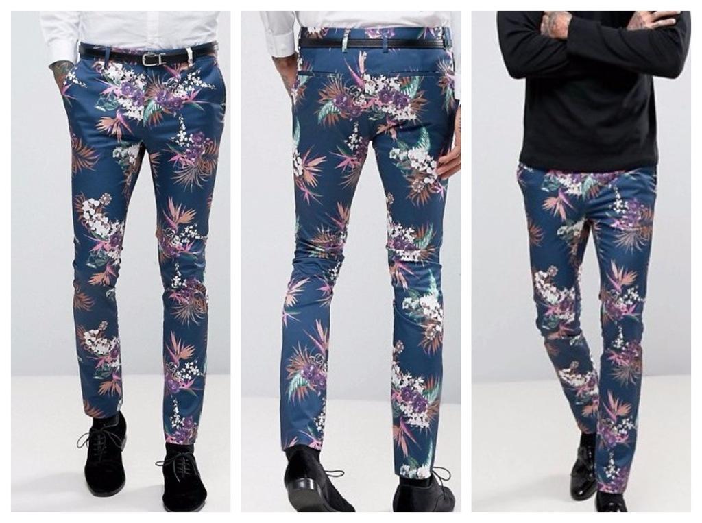 spodnie skinny granatowe kwiaty impreza 34 36