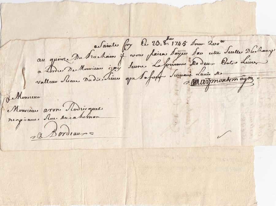 Weksel 1745 i korespondencja UNIKAT judaika?