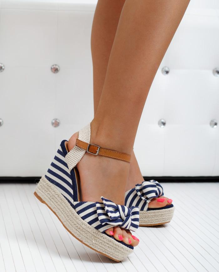 Sandały Koturny Espadryle Madam Marina Granat