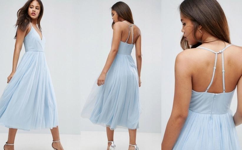 rozkloszowana sukienka midi na ramiączkach